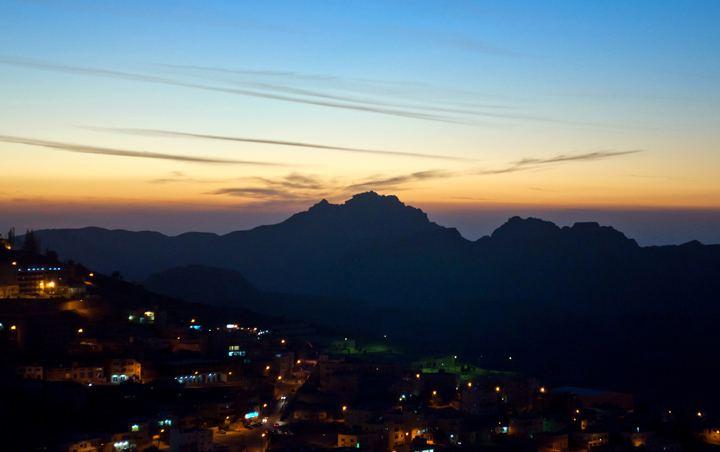 Sunset over Wadi Musa and Petra