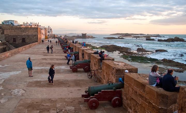 The Essaouira ramparts at sunset