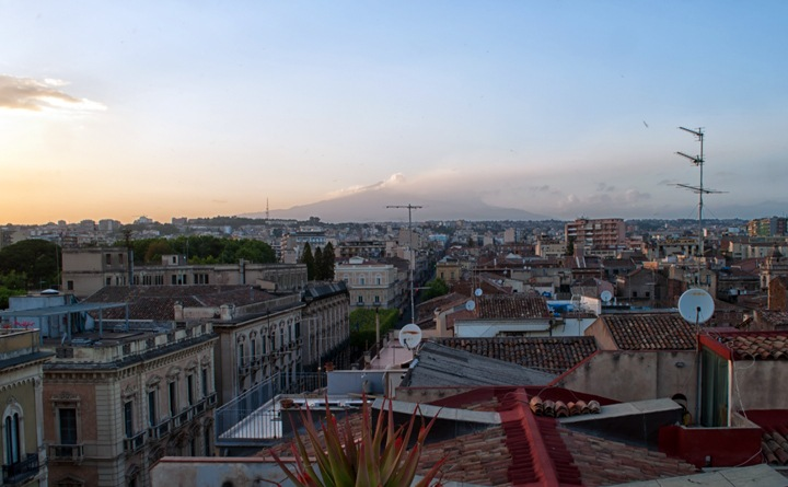 Mount Etna at sunset in Catania, Sicily