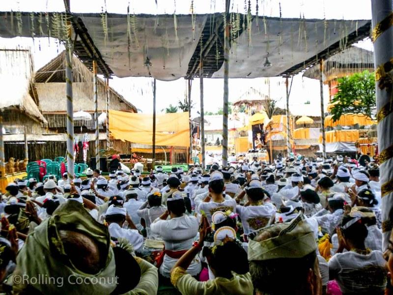 Full Moon Crowd Praying Ubud Bali Indonesia photo Ooaworld