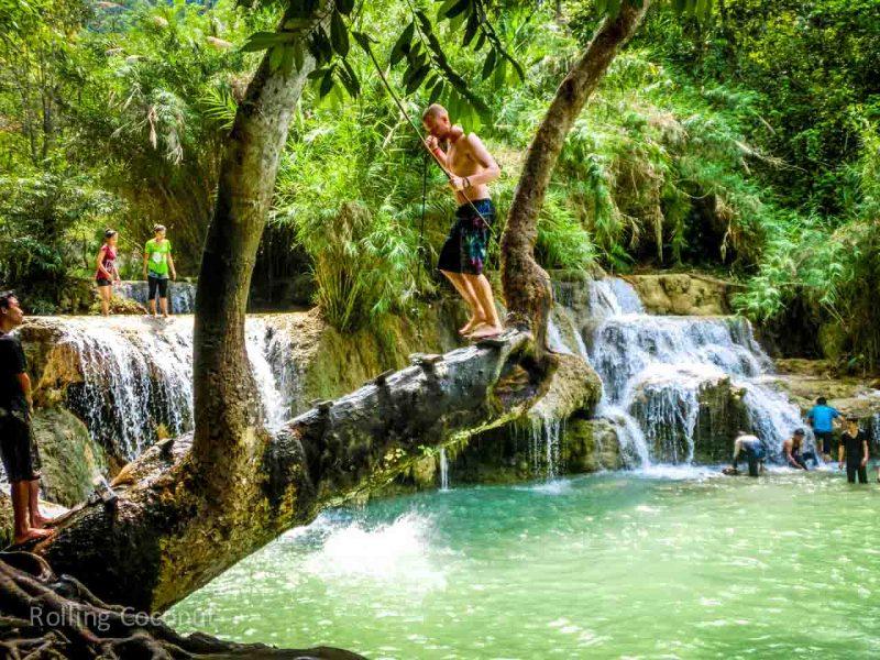 Jumping Off Cord Kuang Si Falls Luang Prabang Laos Rolling Coconut Ooaworld Photo Ooaworld
