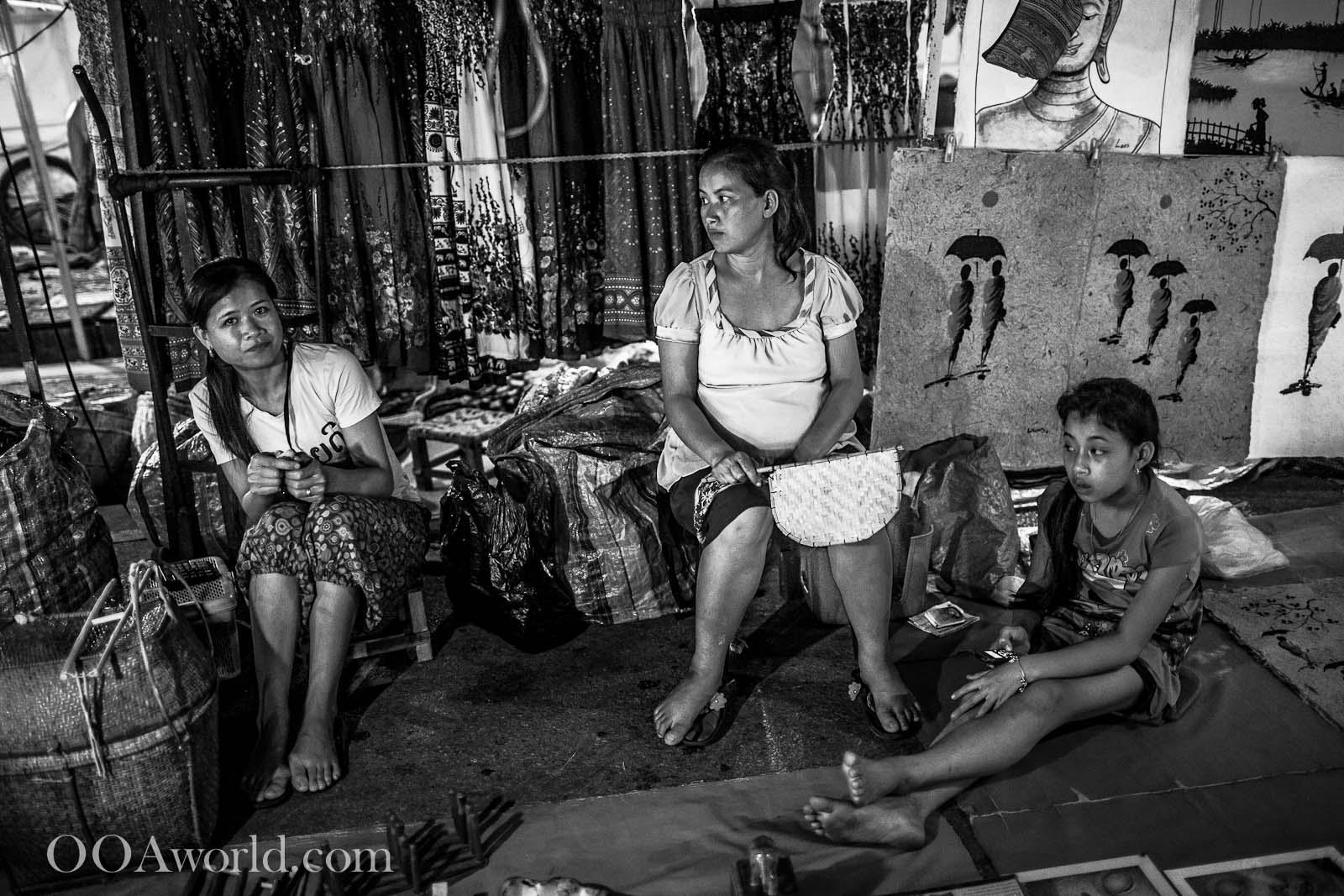 Luang Prabang Family Waiting at the Market Photo Ooaworld