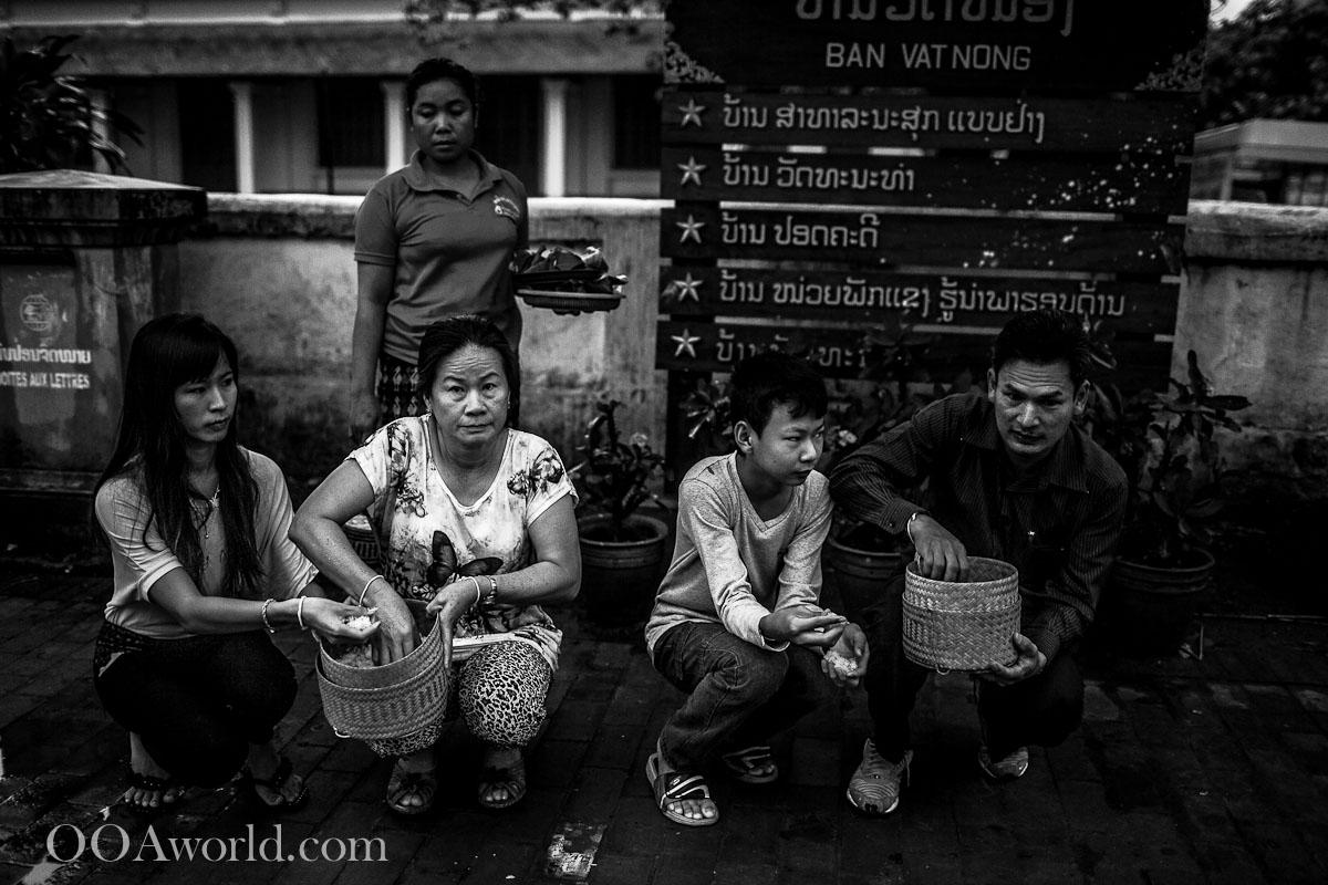 Feeding Monks Luang Prabang Photo Ooaworld