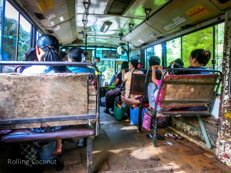 Inside the Bus from Mawlamyine to Hpa An Myanmar ooaworld Rolling Coconut Photo Ooaworld