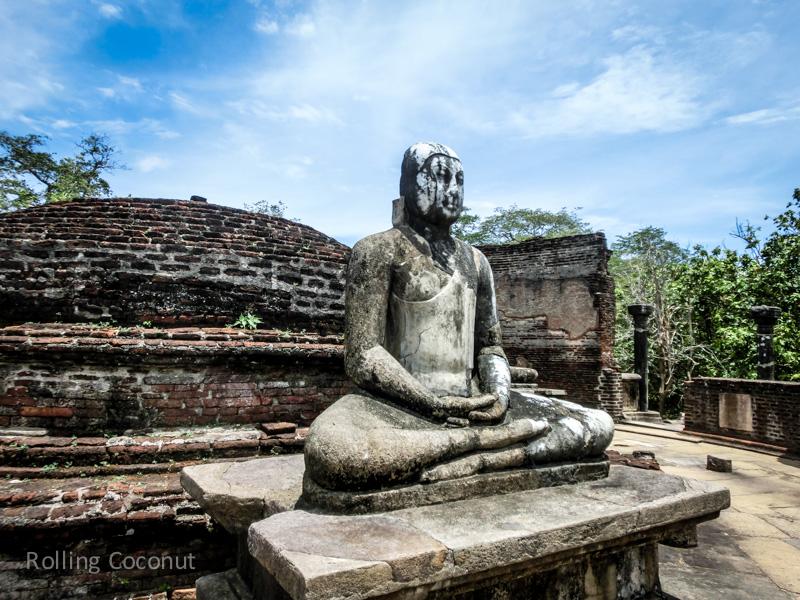 Buddha Statue in Meditation Pose Polonnaruwa Sri Lanka ooaworld Rolling Coconut Photo Ooaworld