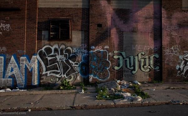Detroit, graffiti-covered wall