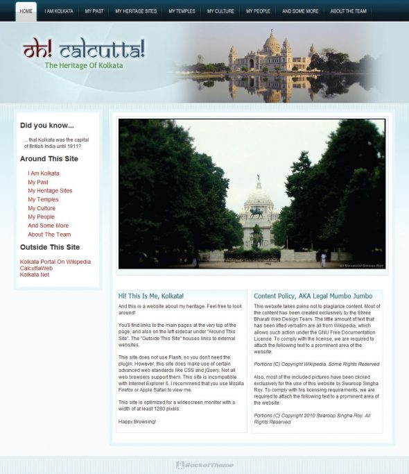 Homepage of website
