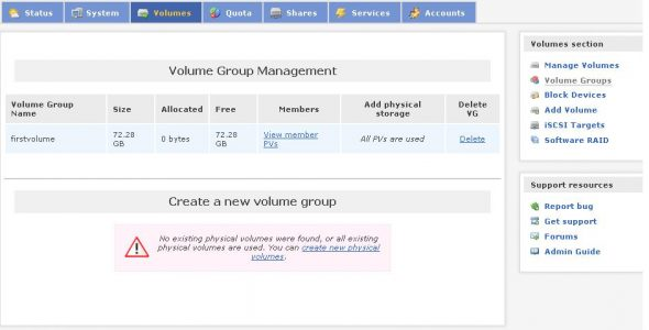 Volume group management