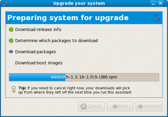 Figure 6: Upgrade to new distro version with PreUpgrade