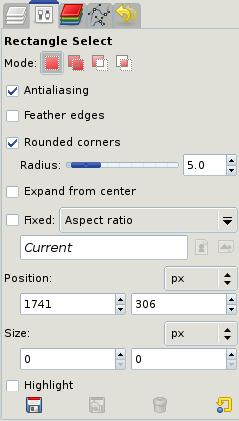 Figure 3: Rectangle selection settings