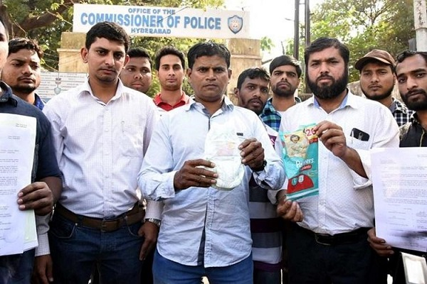 Hyderabad Muslims burn diapers as a cat's face on it resembles Prophet's name