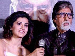 Mumbai: Bollywood actors Amitabh Bachchan and Taapsee Pannu during the trailer launch of his upcoming Hindi film 'Pink' in Mumbai on Tuesday. PTI Photo(PTI8_9_2016_000227A)