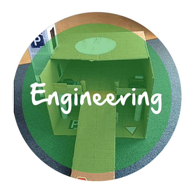 "The word ""Engineering"" appears in white text over a green circle that is resting on top of an image of a cardboard box that has been transformed into a parking garage"