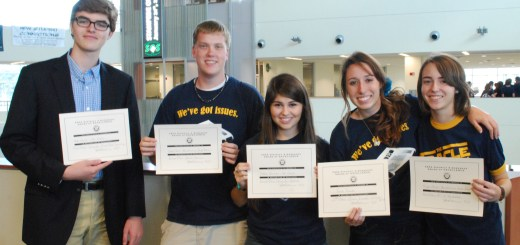 From left to right, Kyle Dunn, Jeff Odom, Natalie Barman, Erica Everett and Megan Varde each show off their certificates received from placing in their respective categories.