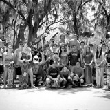 "Steinbrenner's longboarding club poses for a group shot at Glen Oaks Park in Clearwater. The club goes by the name ""Longing For Hope""."