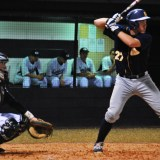 Third baseman Devon Connors turns and swings for a ball that would drive in the go ahead run in the top of the seventh inning. Steinbrenner went on to win 7-6 against Gaither as Connors had two RBI's in the game.