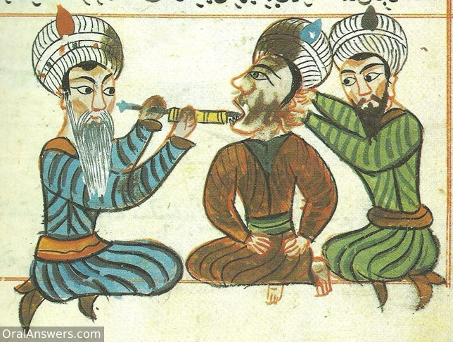 Arabic Dentist Cauterizing Dental Pulp - Dental History