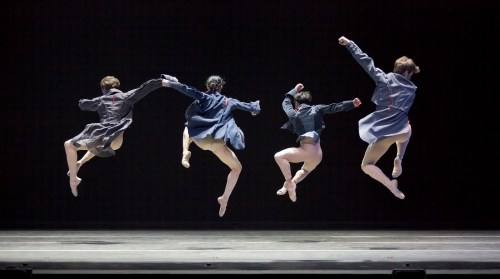 "From left: Michael Linsmeier, Xuan Cheng, Javier Ubell, Lucas Threefoot in Trey McIntyre's ""Robust American Love."" Photo: Blaine Truitt Covert"