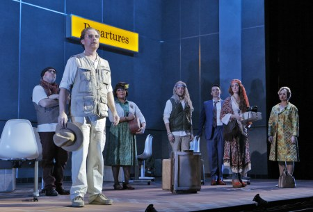 Ryan MacPherson (l) and the rest of the ensemble cast of Postcard from Morocco. Photo: Cory Weaver.