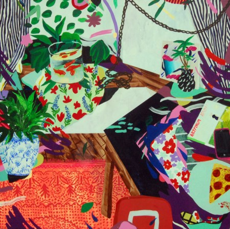 """Katie Batten, You Also Have a Pizza, 2014, acrylic on canvas, 34 x 34"""""""
