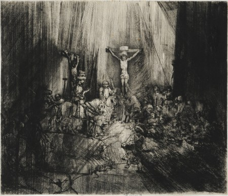 Rembrandt van Rijn, The Three Crosses (4th State), 1653, Drypoint and burin, reworked, on Japanese paper, 15 7/16 x 17 15/16 in., École des Beaux-Arts, Paris (EST 1020), Courtesy American Federation of Arts
