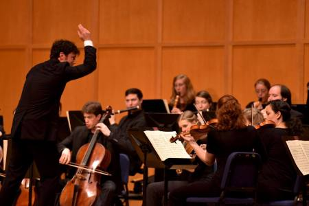 Oregon Bach Festival music director Matthew Halls leads the Berwick Academy in Beethoven's Symphony No. 2 in D Major. Photo by Jonathan Lange.