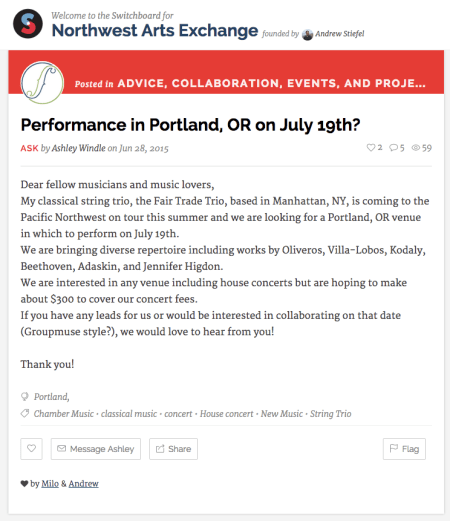 Call for assistance resulted in Portland concert. Screenshot: Gary Ferrington.