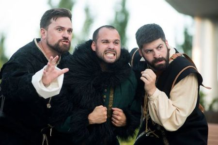 Peter Schuyler, Eric St. Cyr and Eric Nepom star in Bag & Baggage Productions' Richard III. Photo: Casey Campbell.