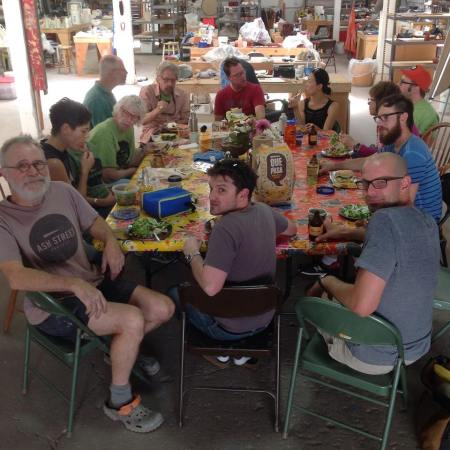 A typical brown bag lunch gathering at the Ash Street Project. Photo by Joanna Bloom