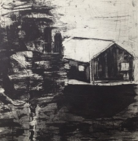 """Ritsuko Ozeki, """"Landscape-river"""", Print etching, aquatint    20 x 20 in./Courtesy of Froelick Gallery"""