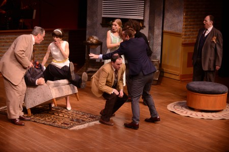 Off to the races: the company shifts into gear. Photo: Clackamas Repertory Theatre