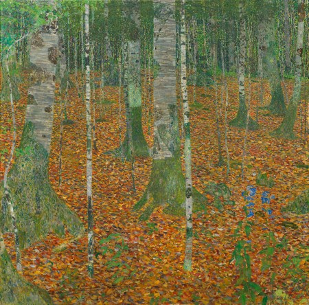 "Gustav Klimt (Austrian, 1862–1918), ""Birch Forest (Birkenwald),"" 1903. Oil on canvas, 43 1/4 × 43 1/4 inches. Courtesy of the Paul G. Allen Family Collection."