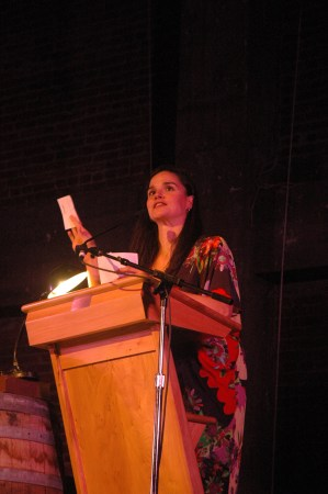 Elena Passarello emcees The Magic Barrel in Corvallis/Photo by Gregg Kleiner