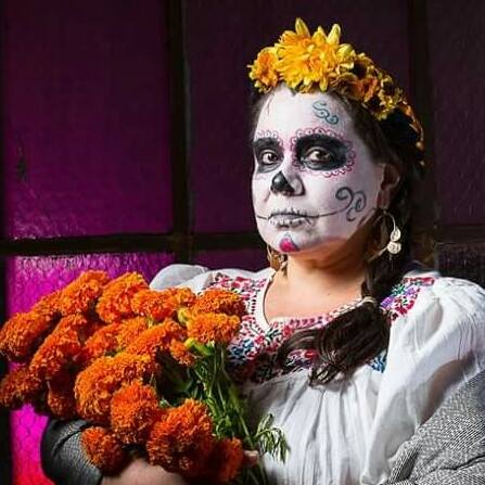Sofia Tlamatiliztli May-Cuxim, all dressed up for Milagro's La Muerte Baila. Photo: Russell J Young