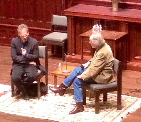 Jon Krakauer and Barry Lopez converse at Wordstock 2015./Photo by Angie Jabine