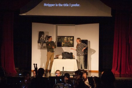 Brother (Matt Storm) and Stripper (Helen Funston) debate in 'Viva's Holiday'. Photo: Jessica Beer.