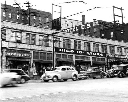 Seattle's Jackson Street in the 1950s, the center of mid-century jazz in Seattle, where Quincy Jones and Ray Charles met as teenagers. Photo: Seattle Municipal Archives Photography Database.