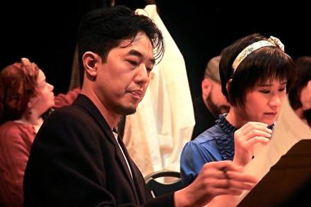"Leo Lin and Wynee Hu in ""TheLanguage Archive""; background: Sofia May-Cuxim, Enrique Eduardo Andrade. Theatre Diaspora photo"