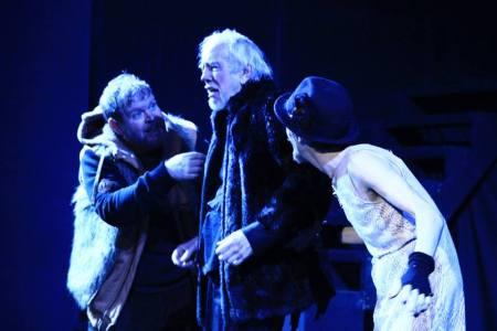 Todd Van Voris as Kent, Tobias Andersen as Lear, Philip J. Berns as the Fool at Post5. Photo: Carrie Anne Huneycutt