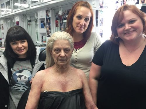 """Magic in the """"Grimm"""" makeup trailer was performed by Morgan Muta, makeup artist, Corinna Woodcock, key makeup artist, and Laura Loucks, department head makeup. Their wizardry transformed 64-year-old extra Cynthia Stowell into 90-year-old Summer Blake. (Morgue-worthy wig by Shelia Cyphers, department head hair, and Emie Otis, key hair.)"""