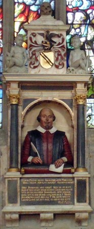 Shakespeare's funerary monument, Holy Trinity Church, Stratford-upon-Avon, England. Wikimedia Commons