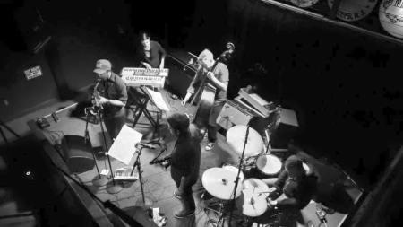 Blue Cranes: Reed Wallsmith, Rebecca Sanborn, Joe Cunningham, Jon Shaw and Ji Tanzer at Mississippi Studios last year.