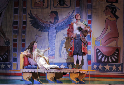 Pamina (Maureen McKay), Paageno (John Moore) and Sendak's set. Photo: Cory Weaver