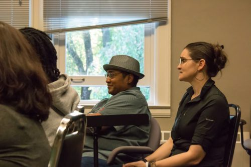 """""""After the War Blues"""" directors Bobby Berea (center) and Jamie Rea at rehearsal. Photo: Theatre Diaspora"""