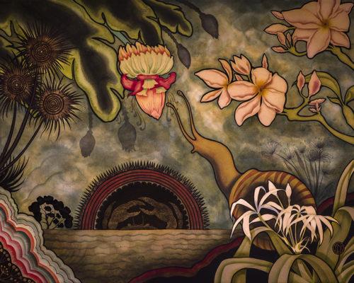 "Kamala Dolphin-Kingsley, ""Towards the Portunoidea Moon,"" watercolor, acrylic, gouache, 22 x 30 inches, 2015. Waterstone Gallery"