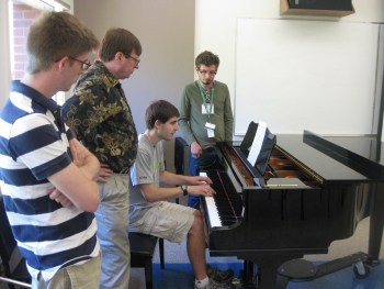 Participants mentored by guest composer Stephen Harte at the 2013 OBFCS.