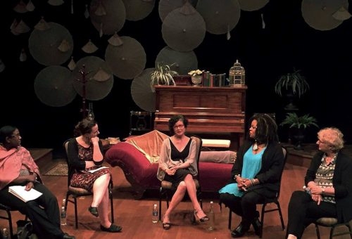"Jane Vogel, center, taking part in a ""Brave New World"" panel sponsored by Oregon Humanities and Profile Theatre, with, from left, Kimberly Howard, Adriana Baer, S. Renee Mitchell, and Pat Zagelow. Photo: Lorelei Culbertson"