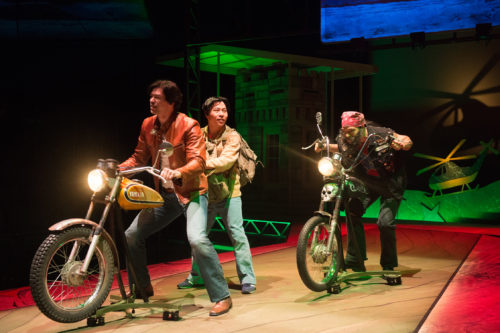 Quang (James Ryen) and Nhan (Will Dao) have a run-in with a redneck biker (Paco Tolson). Photo :Jenny Graham, Oregon Shakespeare Festival