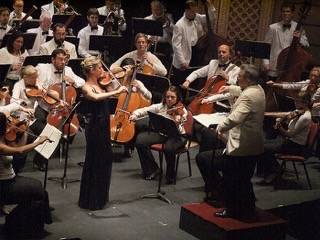 Elizabeth Pitcairn plays her Red Violin at the Astoria Music Festival.