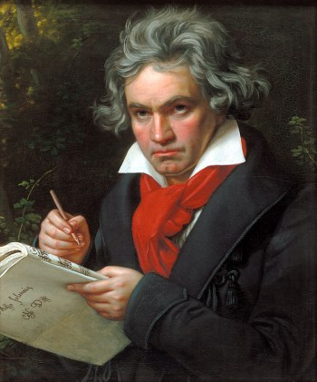 Joseph Karl Stieler's famous portrait of Beethoven while composing the Missa Solemnis. Oil on canvas, 24.4 x 19.7 inches, 1820, Beethoven-Haus, Bonn, Germany.